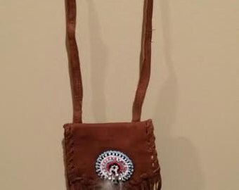 Medicine Bag, Tan, Beaded, Feather, spiritual , Ritual, Spiritual, Ceremony, Smudge, Pagan