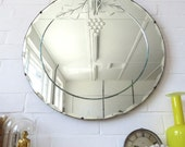 Vintage Large Round Art Deco Bevelled Edge Wall Mirror with Engraved Pattern