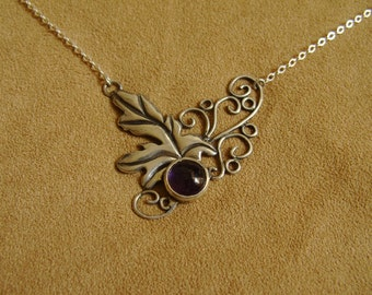 Fairy Leaf and Vines Necklace with Amethyst Grape