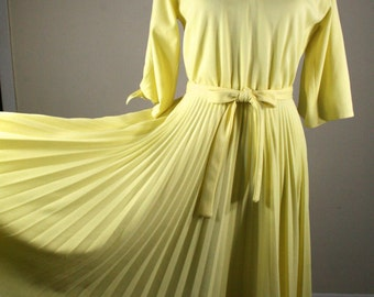 1970s Lemon Yellow Full Pleated Skirt and Knotted Sleeves Dress