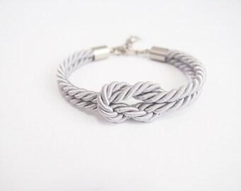 Sailor knot bracelet - tie the knot bracelet - light grey - nautical rope bracelet - rope jewelry - bridesmaid bracelet - beach wedding gift