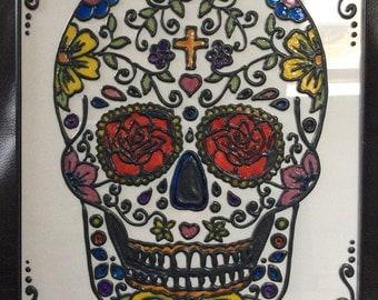 Dia de Los Muertos Day of the Dead Sugar Skull Glass Art Painting in Frame