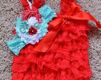 aqua and red baby girl outfit, baby romper,petti romper,baby headband,first birthday photo outfit,headband and lace petti romper