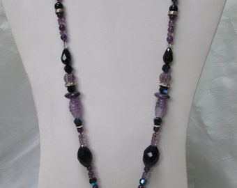 Flapper Amethyst with Jet and Rondelle Beaded Floral Necklace
