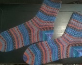Hand knitted wool mix socks, women's size 10-11, mens 12-13