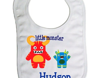 Little Monster  personalized  baby bib, baby shower gift- -B018