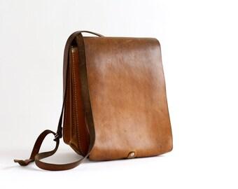 Vintage Leather Messenger Army Bag - Tan Leather Satchel