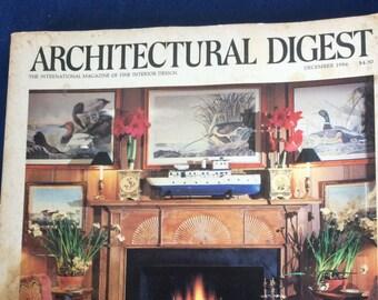 Vintage 1986 Architectural Digest Magazine December 1986 , The International Magazine of Interior Design, Pictures, Home Decor,