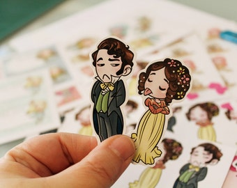 NEW SHINY Stickers: Elizabeth Bennet & Mr Darcy, Pride and Prejudice