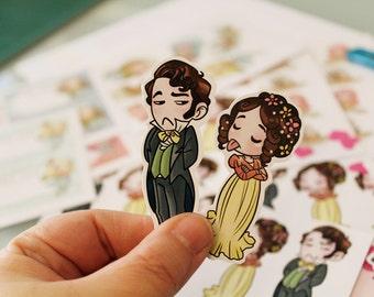 NEW SHINY Stickers: Elizabeth Bennet & Mr Darcy, Pride and Prejudice