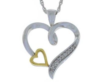 10Kt Yellow Gold Diamond Heart Pendant .925 Sterling Silver