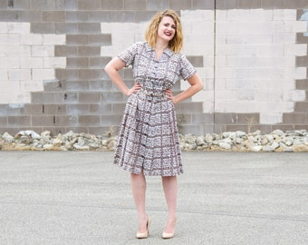 SALE vintage cotton day dress / 50s dress large / 1950s day dress / 1950s shirtwaist dress / 1950s cotton dress / shirt waist dress