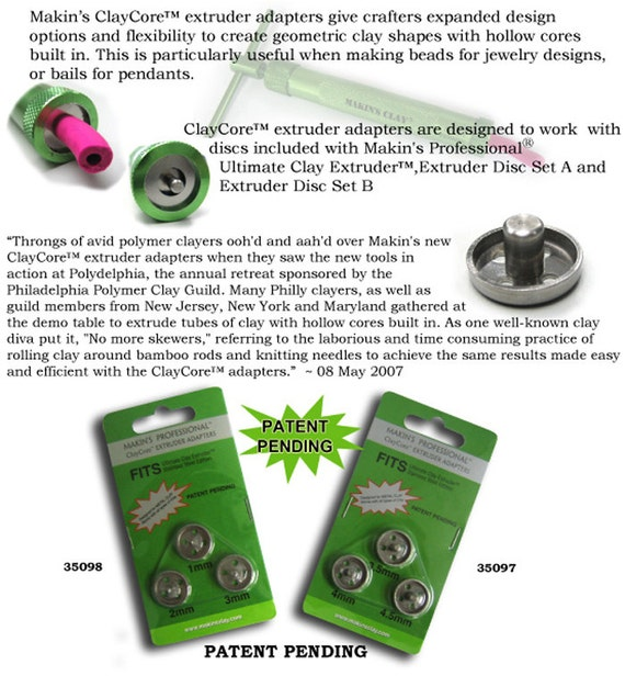 Makin's clay core extruder adapter 3 piece set sized from 3.5mm to 4.5mm