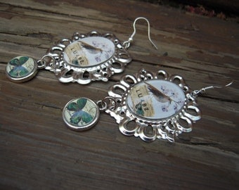 Bird and butterfly earrings