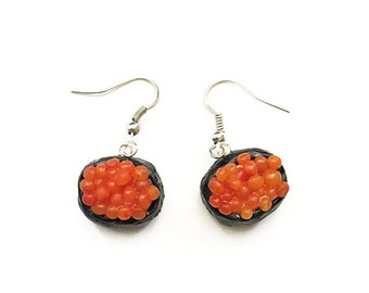 Handmade Salmon Roe Sushi Earrings - food jewelry, sushi jewelry, ikura, sushi earrings, polymer clay, sushi, seafood, food earrings, food