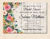 Floral Bridal Shower Invitation, Rustic Shower Invitation, Floral Invitation, Wedding Shower, Printable, Engagement Party