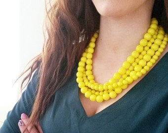 Bright chunky yellow necklace,Bridesmaid yellow necklace,bridesmaid gift,Neon yellow chunky necklace,Chunky necklace,Chartreuse wedding