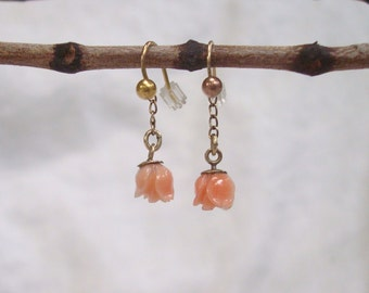 Gold Coral Earrings - Angel Skin Coral Rose Earrings on all 9K Gold Wires with Gold Filled Chains