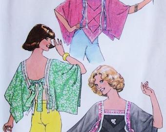 70s RETRO Simplicity 7897 Disco Overblouse Pattern Easy To Make Tie Back Top Handkerchief Angel Sleeves Kawaii vintage Sewing Pattern UNCUT