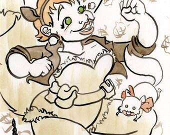 Squirrel Girl, Marvel Comics, Small Ink & Watercolor Original Drawing
