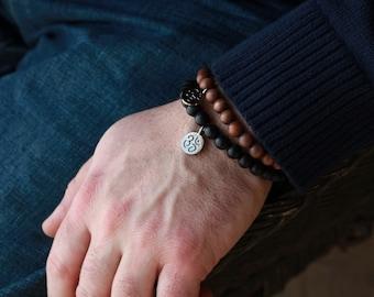 10mm Mens Om Bracelet - Buddha Bracelet - Mens Wood Buddha Bracelet