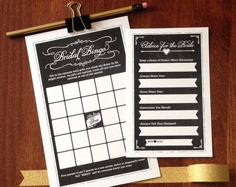 Bridal Shower Bingo and Advice For The Bride Cards, Bridal Shower Games, Printable, Chalkboard Design, DIY
