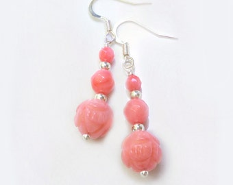 Pink Coral Earrings - Beaded Coral Earrings - Carved Coral Earrings - Dangle Earrings -Bridesmaid Gift -Coral Jewelry -Beach Wedding Jewelry