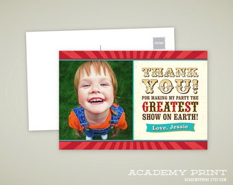 Printable Carnival Thank You Card - Custom Photo Postcard Thank You Card - Printable Carnival or Circus Birthday Note Card