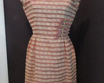 Vintage 1940's 50's Minx Modes juniors ruffle wiggle silk taffeta dress XS S
