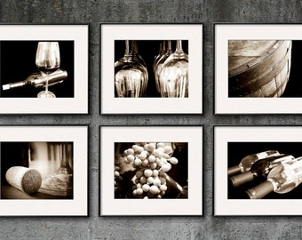 Wine Photography, Sepia, Wine Print Set, Wine Art, Set of 6 Prints Vintage Winery Restaurant Wine Bar Kitchen Art Dining Room