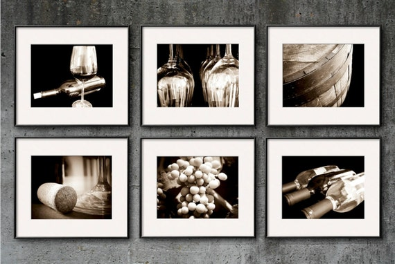 Wine Photography, Sepia, Wine Print Set, Wine Art, Set of 6 8x10 Prints Vintage Winery Restaurant Wine Bar Kitchen Art Dining Room Mod Retro