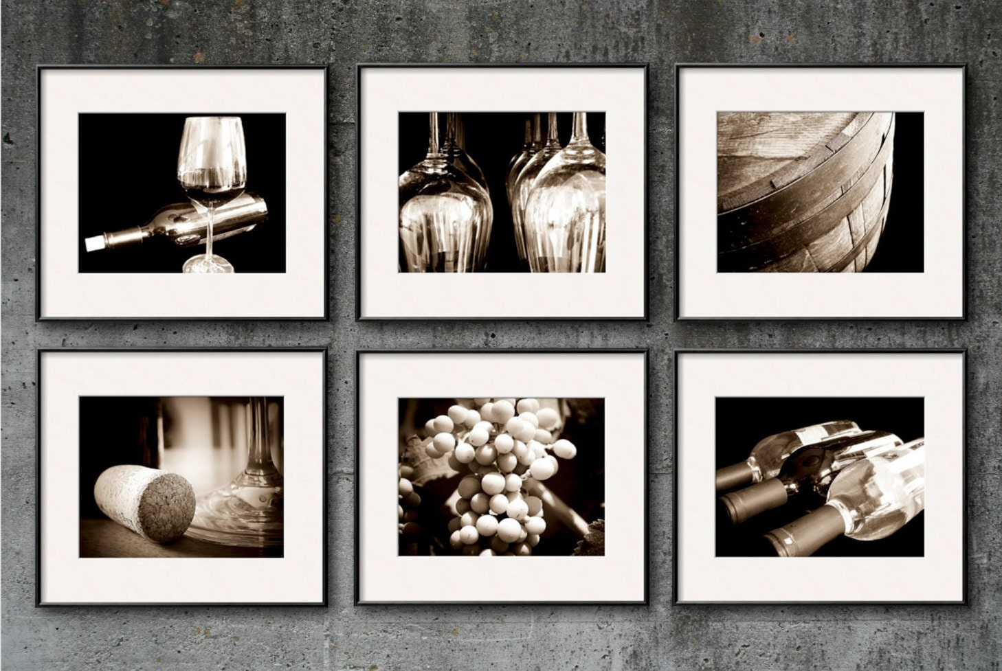 Wine Photography Sepia Wine Print Set Wine Art Set Of 6