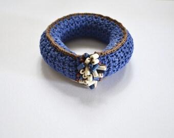 Bangle bracelet, crochet bracelet, bohemian jewelry, bulky bracelet, fiber art jewelry, blue tribal bracelet