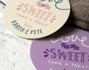 Love is Sweet Label, Love is sweet Candy Buffet Stickers, Treat Bag Sticker, Custom Candy Buffet Labels, Personalized Wedding Favor Stickers