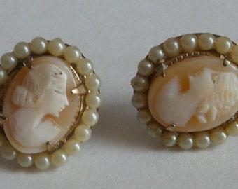 Earrings Vintage Cameo