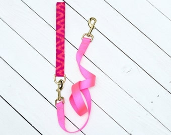 Female Dog Leash, Neon, Hot Pink Fabric Handle, Nylon Webbing, Heavy Duty, Comfortable, Metal Hardware, Hybrid Leash