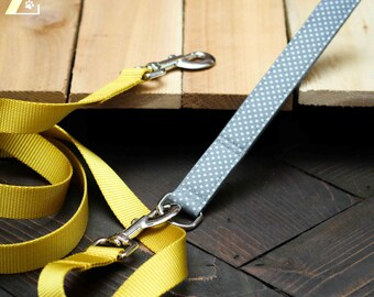 Dog Leash, Metallic Silver Polka Dots, Goldenrod Nylon Webbing, Heavy Duty, Comfortable, Metal Hardware, Hybrid Leash