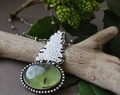 Tree Necklace - Prehnite Metalsmithed Pine Tree Necklace Pendant