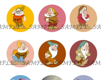 INSTANT Download!!! Snow White & the Seven Dwarfs, bottlecaps Images- DIGITAL or PRINT-Tags-Cupcake Toppers-Scrapbooking and More.