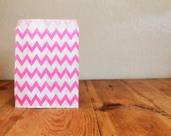 10 Pink Favor Bags- Chevron/Stripes/Polka Dots