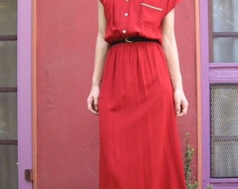 Silk Mandarin Collared Shirt Dress - size 4