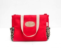 Red and Leopard Canvas Tote Bag, Waterproof