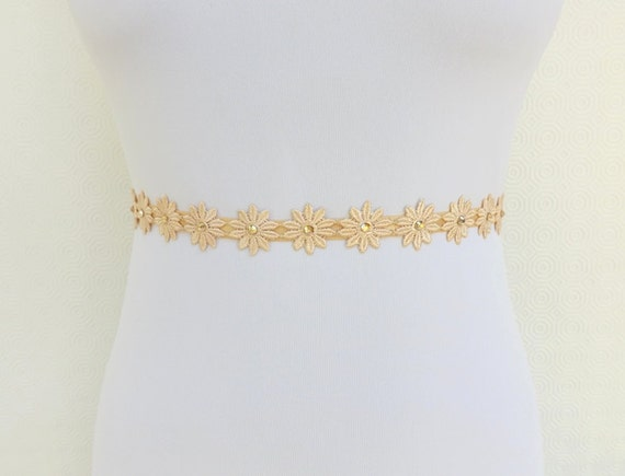 Gold Floral Elastic Waist Belt. Lace Flowers decorated with golden swarovski crystals.