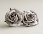 50mm Large Chateau Grey Roses (2pcs) - mulberry paper flowers with wire stems - Great for wedding decoration and bouquet [177]