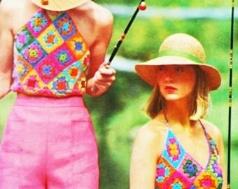 Vintage Crochet Granny Squares Halter Top Pattern -  PDF Instant Download - Mofit Crochet - Strapless Top - Digital Pattern - Scarf  Bib Top