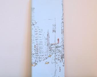 CHRYSLER BUILDING New York Art, Hand painted Acrylic on Canvas, New York City, Original Handmade NYC Screenprint Hand Pulled Dark Grey, Taxi