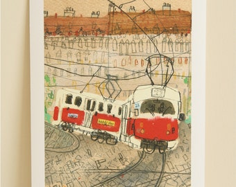 PRAGUE TRAM ART, Czech Republic Print, City Wall Art, Prague Watercolor, Red Tram Painting, Home Decor, Old Town Drawing, Clare Caulfield
