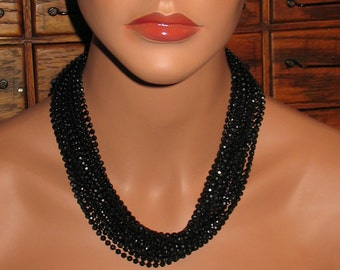 1940s Necklace, Multi Strand Necklace with Black Beads, 1930s Bead Necklace, Tiny Black Beads in Long Necklace from 1940s, 1940s Fashion