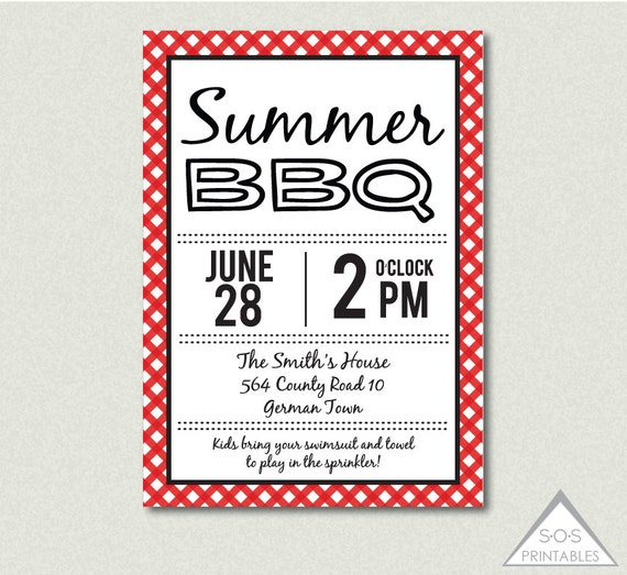 Summer BBQ Invitation Backyard BBQ Barbeque Invite Printable