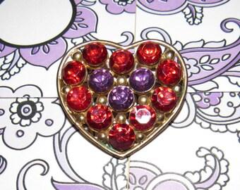 40s 50s Goldtone Rhinestone Heart Brooch Sweetheart Pin